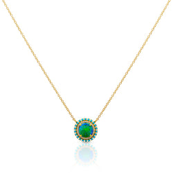 14KT Yellow Gold Opal Turquoise Diamond Round Kai Necklace