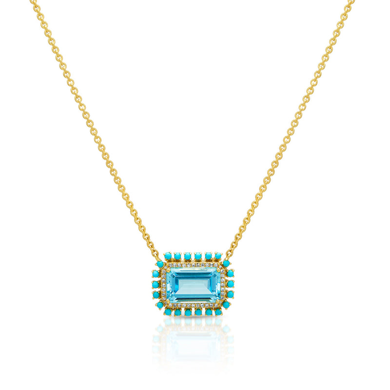18KT Yellow Gold Blue Topaz Turquoise Diamond Portofino Necklace
