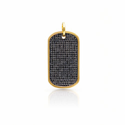 14KT Yellow Gold Black Diamond Luxe Nicolai Dog Tag Charm