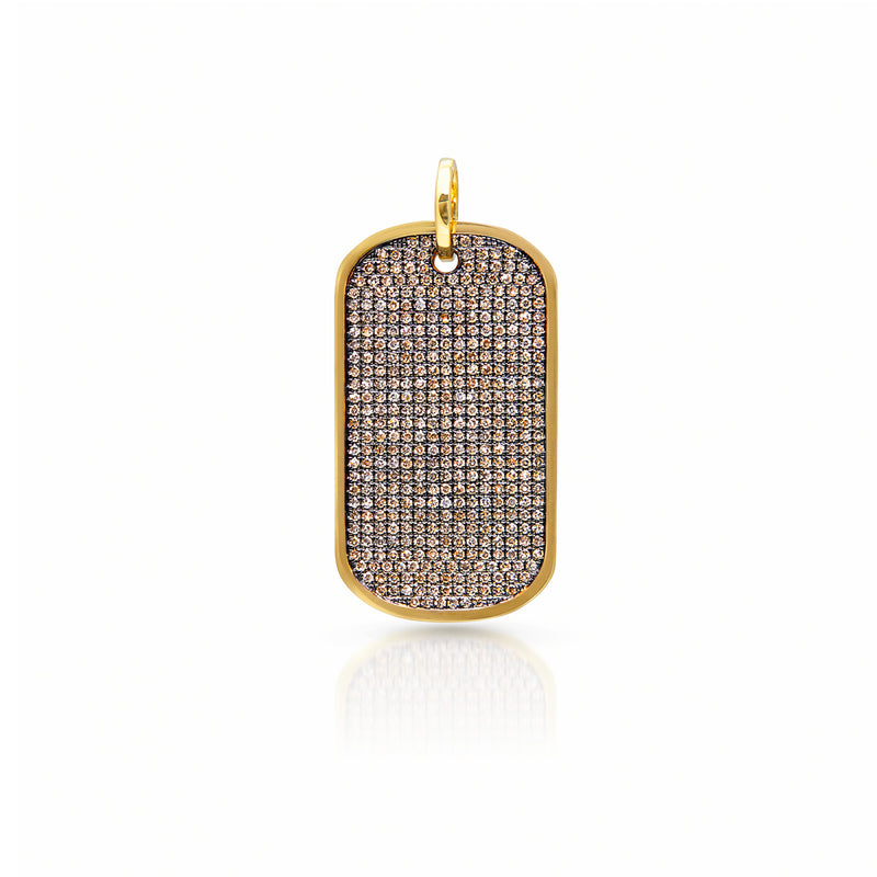 14KT Yellow Gold Champagne Diamond Luxe Nicolai Dog Tag Charm