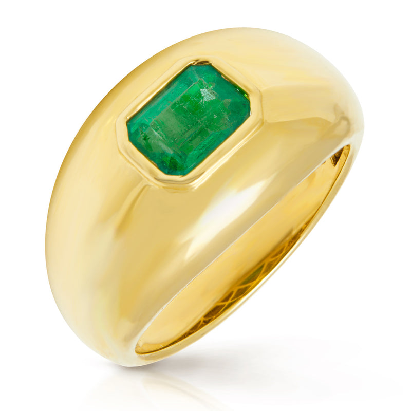 14KT Yellow Gold Emerald Dome Ring