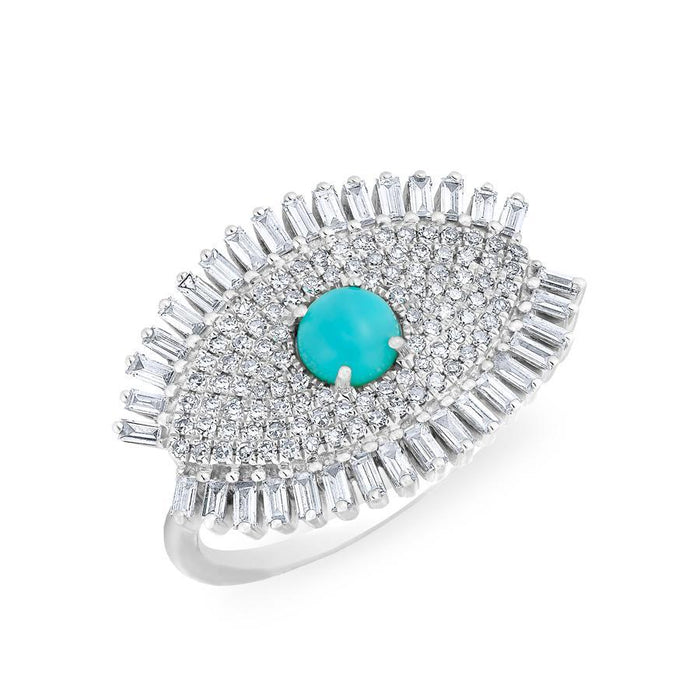 14KT White Gold Baguette Diamond Turquoise Evil Eye Gypsy Ring