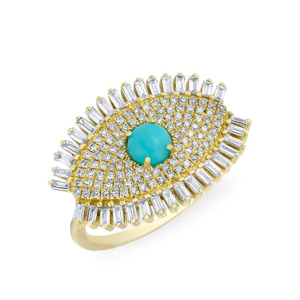 14KT Yellow Gold Baguette Diamond Turquoise Evil Eye Gypsy Ring