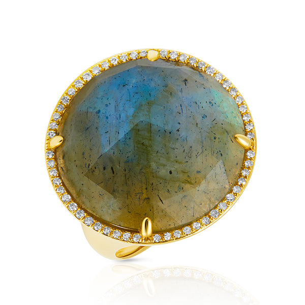 14KT Yellow Gold Labradorite Diamond Fancy Cocktail Ring
