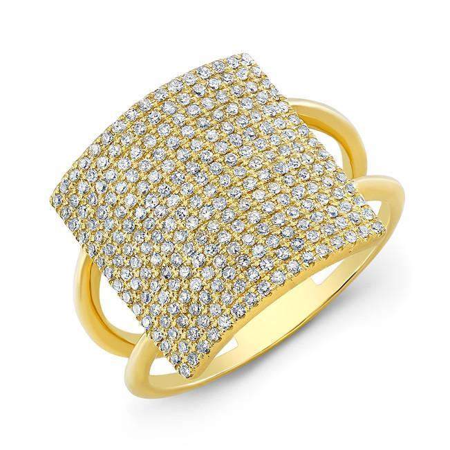 18KT Yellow Gold Diamond Square Ring