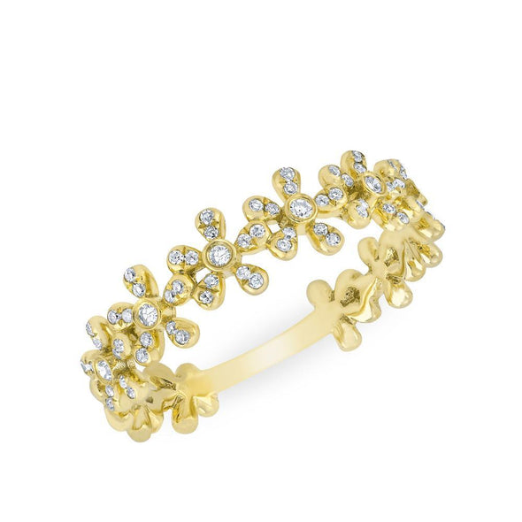 14KT Yellow Gold Diamond Wildflower Ring