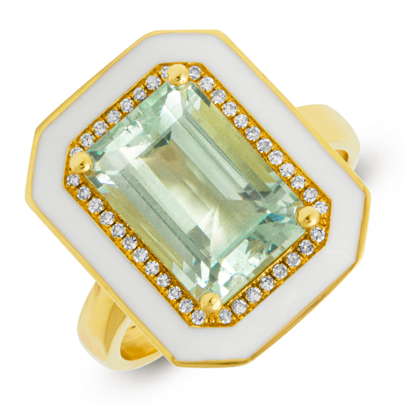 14KT Yellow Gold Green Amethyst Enamel Diamond Deco Ring
