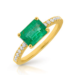 14KT Yellow Gold Emerald Diamond Magdalena Ring