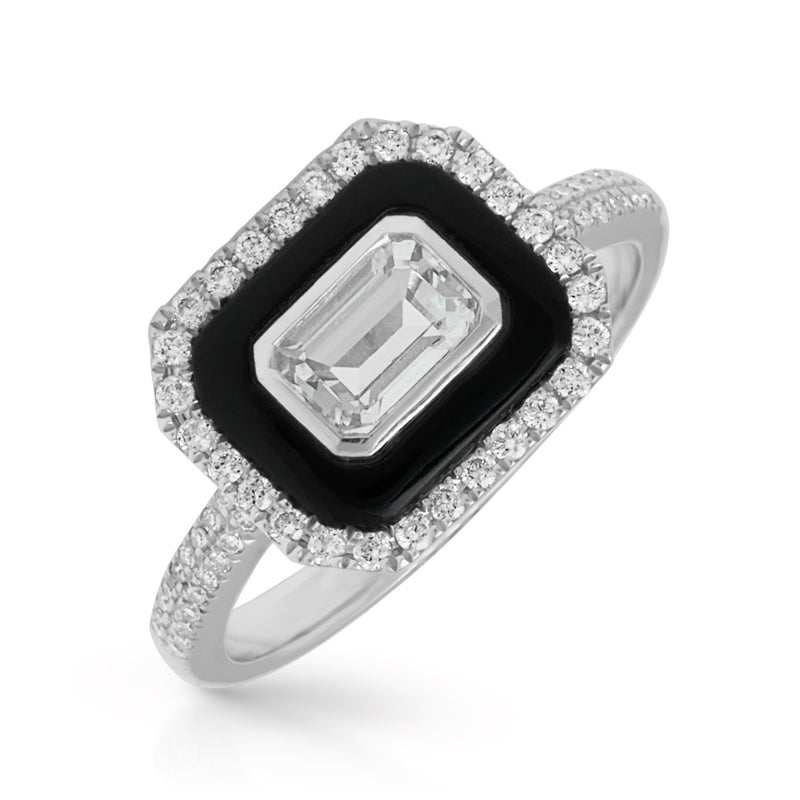14KT White Gold Onyx White Topaz Diamond Ring