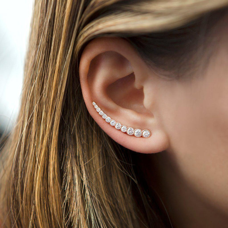 14KT Rose Gold Diamond Luxe Shooting Star Ear Climber worn on ear