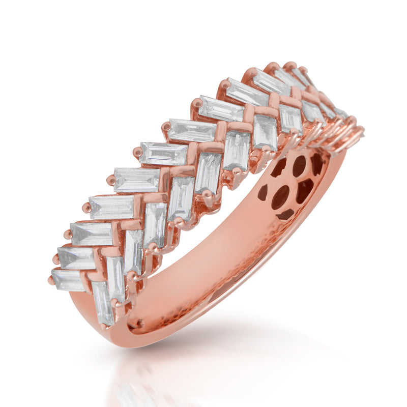 14KT Rose Gold Baguette Diamond Celine Ring