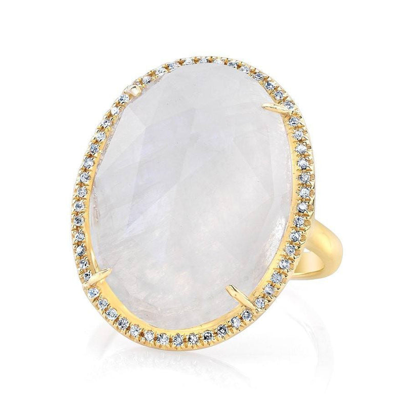 yellow gold moonstone diamond oval cocktail ring