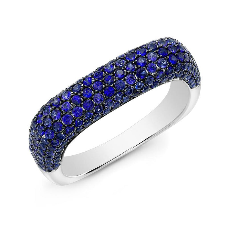 14KT White Gold Blue Sapphire Square Ring