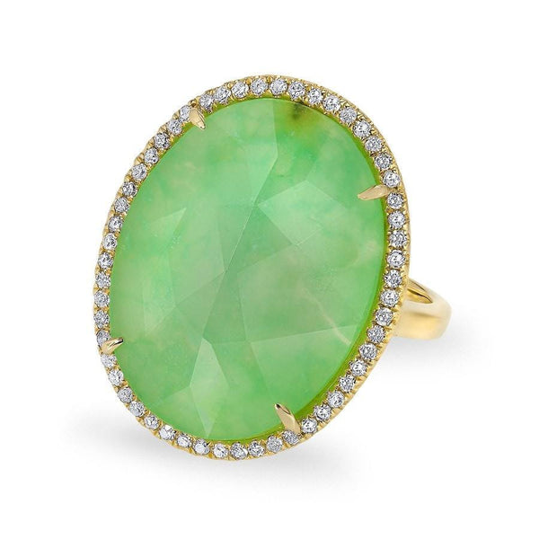 14KT Yellow Gold Chrysoprase Diamond Oval Cocktail Ring