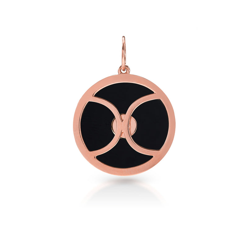 14KT Rose Gold Onyx Diamond Round Bezel Charm