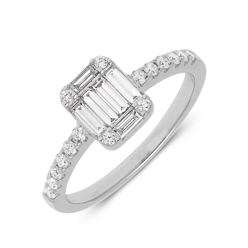 14KT White Gold Baguette Diamond Adonis Ring