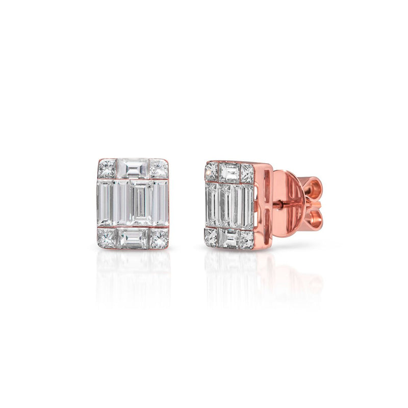 14KT Rose Gold Baguette Diamond Astor Stud Earrings