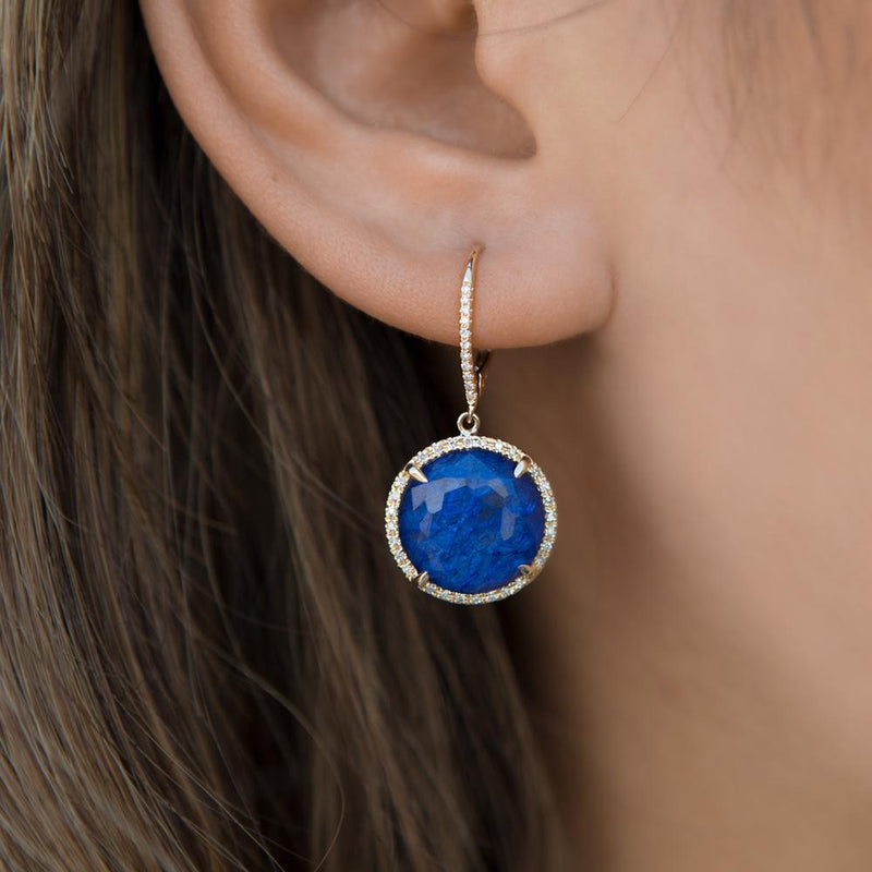 14KT Yellow Gold Blue Sapphire Diamond Round Earrings-Anne Sisteron