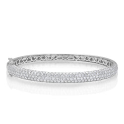 14KT White Gold Diamond Dome Bangle