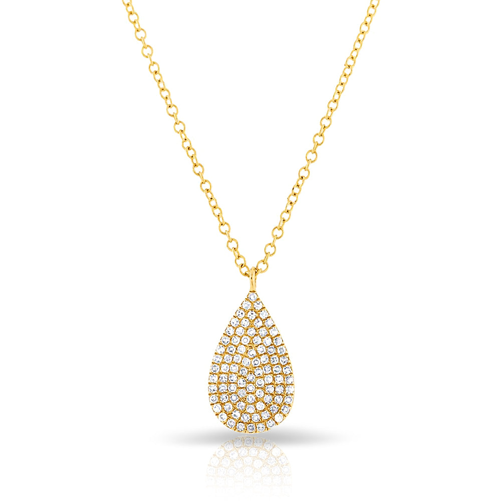 14KT Yellow Gold Diamond Small Pear Necklace