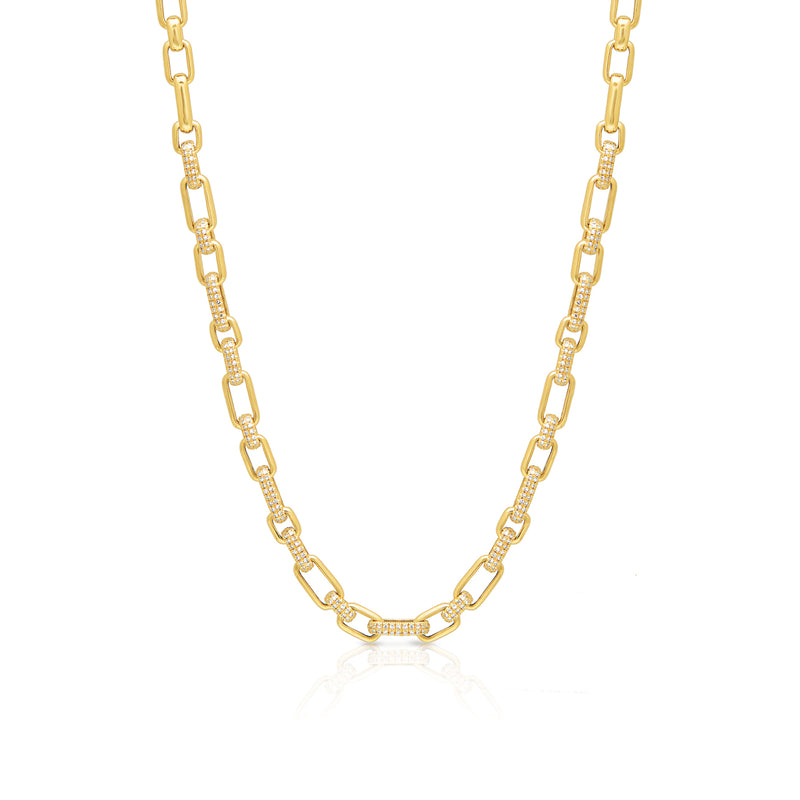 14KT Yellow Gold Diamond Lara Chain Link Necklace