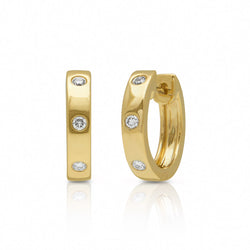 14KT Yellow Gold Diamond Sparkle Huggie Earrings