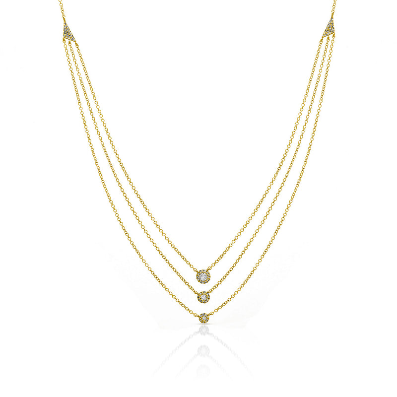 14KT Yellow Gold Diamond Triple Layer Mikaila Necklace