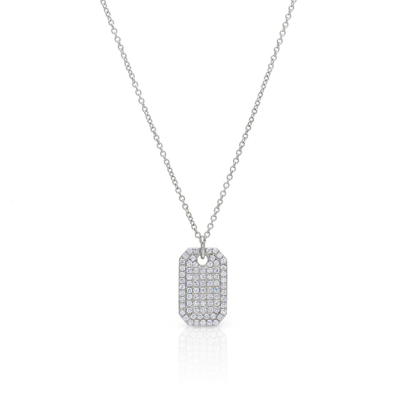 14KT White Gold Diamond Luxe ID Tag Necklace