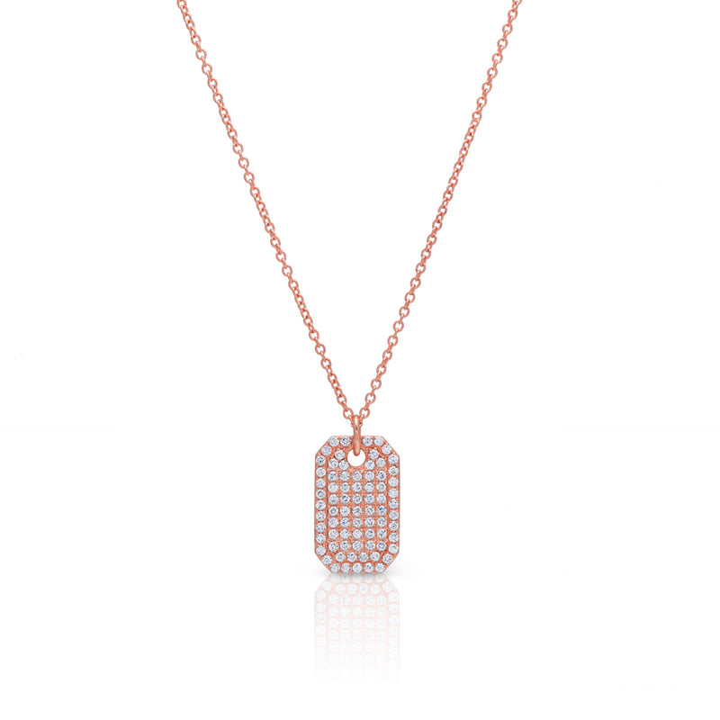 14KT Rose Gold Diamond Luxe ID Tag Necklace