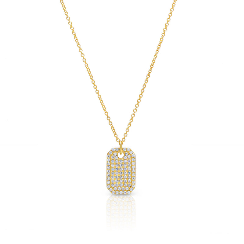 14KT Yellow Gold Diamond Luxe ID Tag Necklace