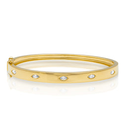 14KT Yellow Gold Diamond Marquis Sparkle Bangle Bracelet