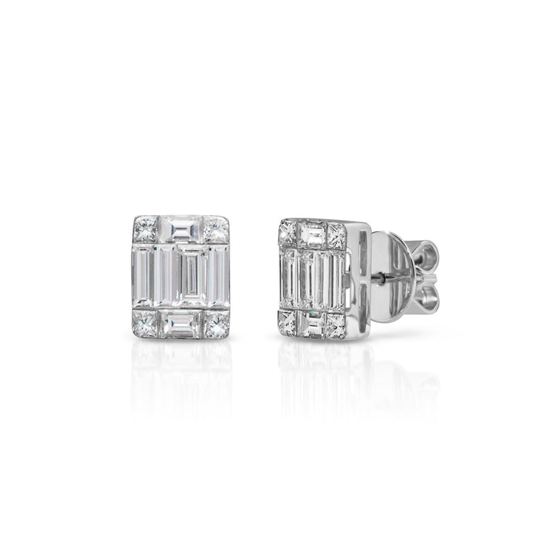 14KT White Gold Baguette Diamond Astor Stud Earrings