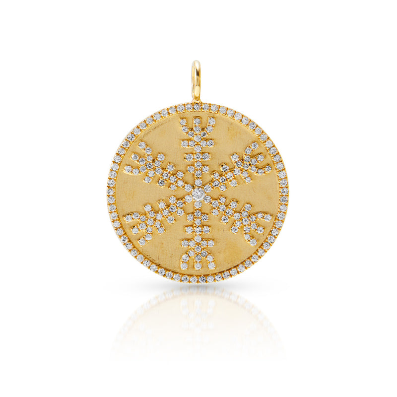 14KT Yellow Gold Diamond Helm of Awe Medallion Charm
