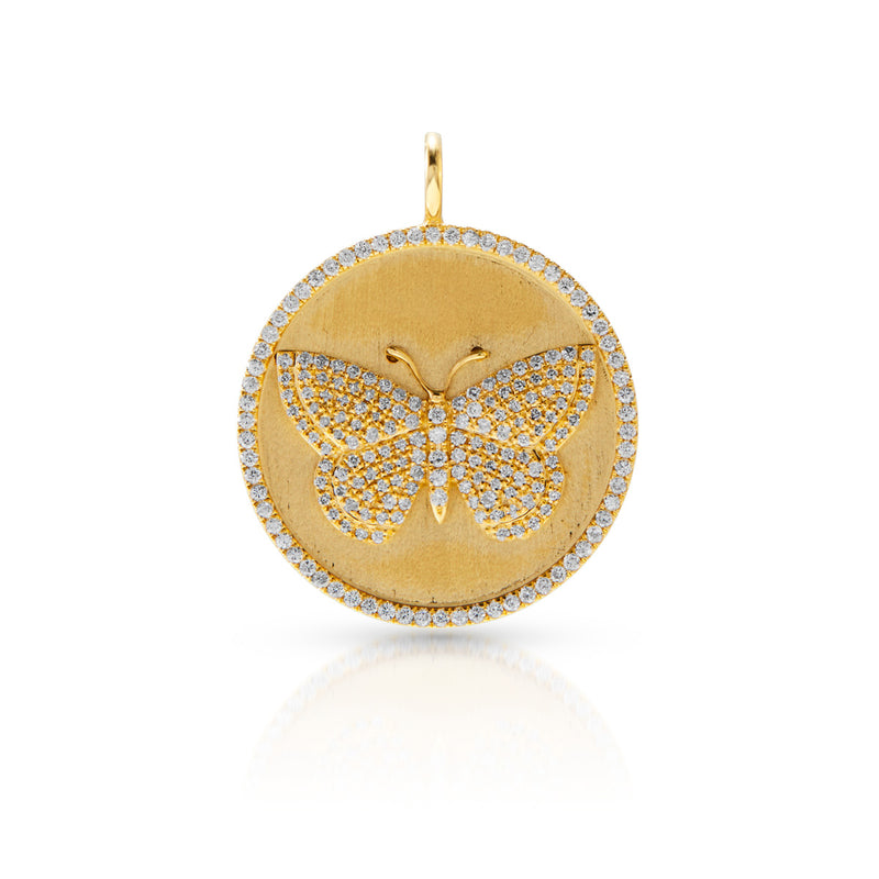 14KT Yellow Gold Diamond Butterfly Medallion Charm