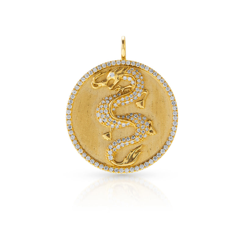 14KT Yellow Gold Diamond Dragon Medallion Charm