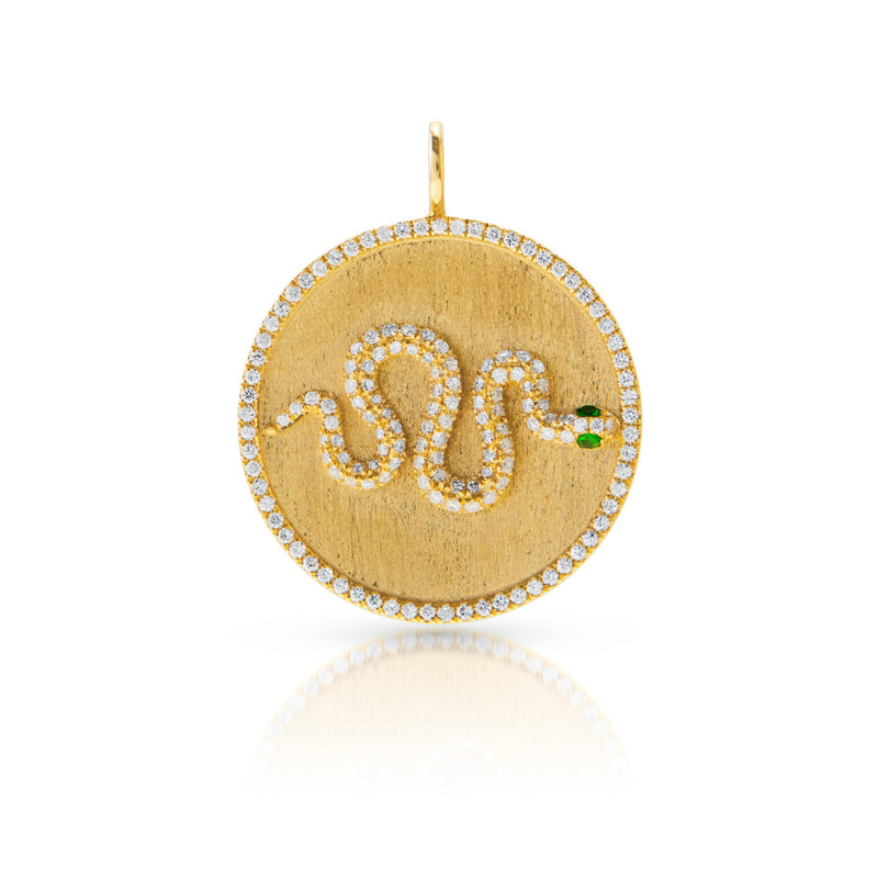 14KT Yellow Gold Diamond Tsavorite Snake Medallion Charm