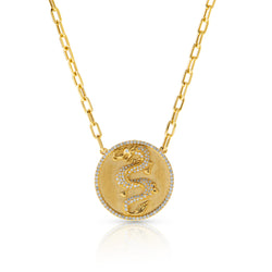 14KT Yellow Gold Diamond Dragon Medallion Charm Chain Link Necklace