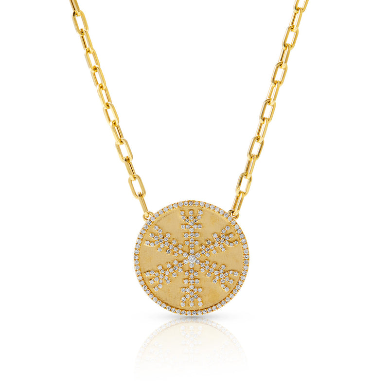 14KT Yellow Gold Diamond Helm of Awe Medallion Charm Chain Link Necklace
