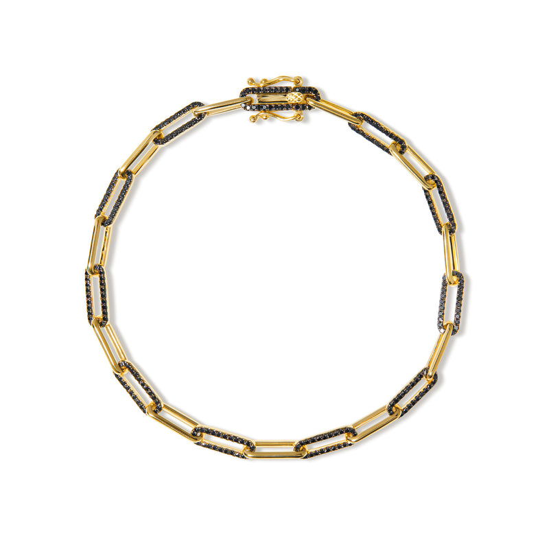 14KT Yellow Gold Black Diamond Paper Clip Link Bracelet
