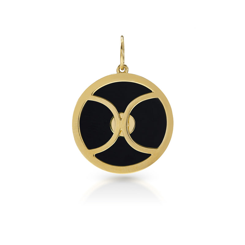 14KT Yellow Gold Onyx Diamond Round Bezel Charm