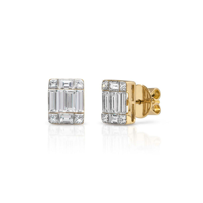 14KT Yellow Gold Baguette Diamond Astor Stud Earrings