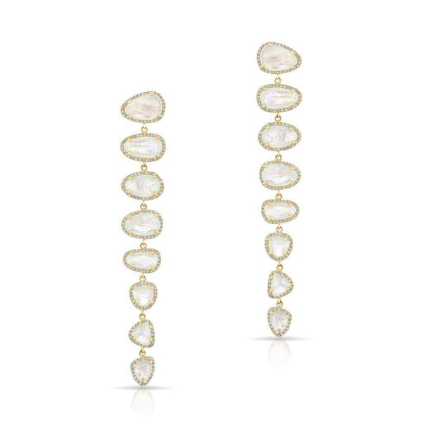 14KT Yellow Gold Diamond Moonstone Misha Earrings