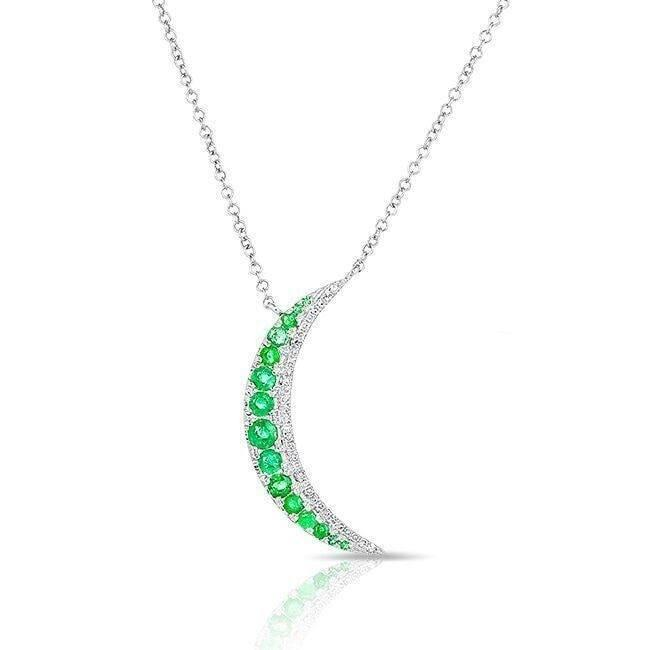 14KT White Gold Emerald Moon Diamond Necklace