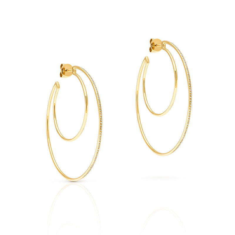 14KT Yellow Gold Diamond Double Hoop Earrings