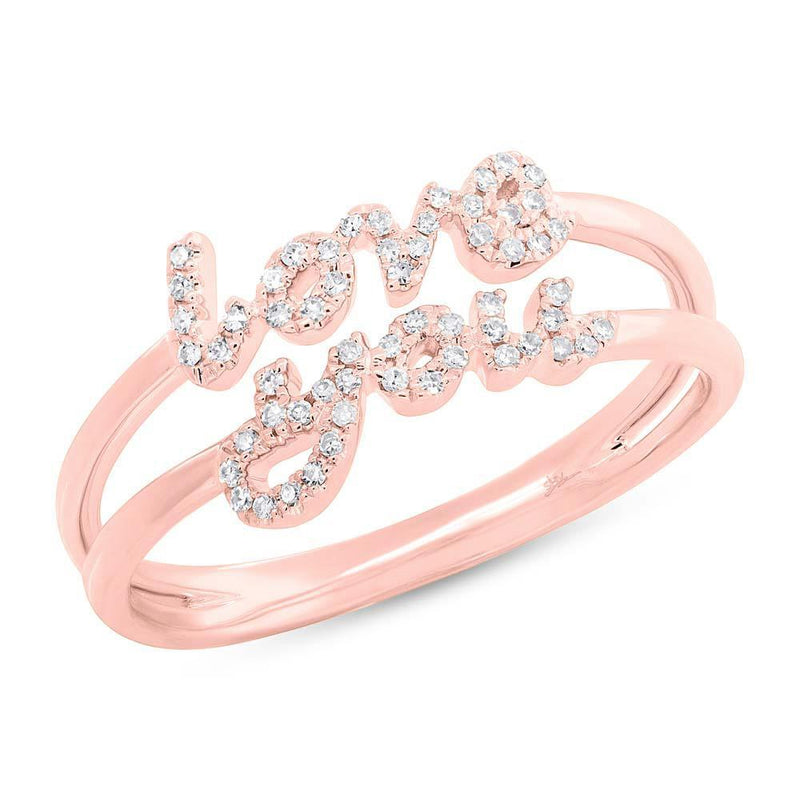14KT Rose Gold Diamond Love You Ring