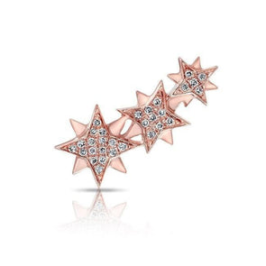 14KT Rose Gold Diamond Stars Ear Climber