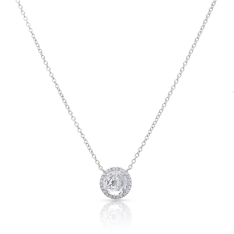 14KT White Gold Diamond Round White Topaz Joy Necklace