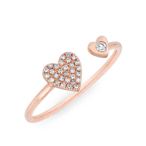 14KT Rose Gold Diamond Double Heart Ring