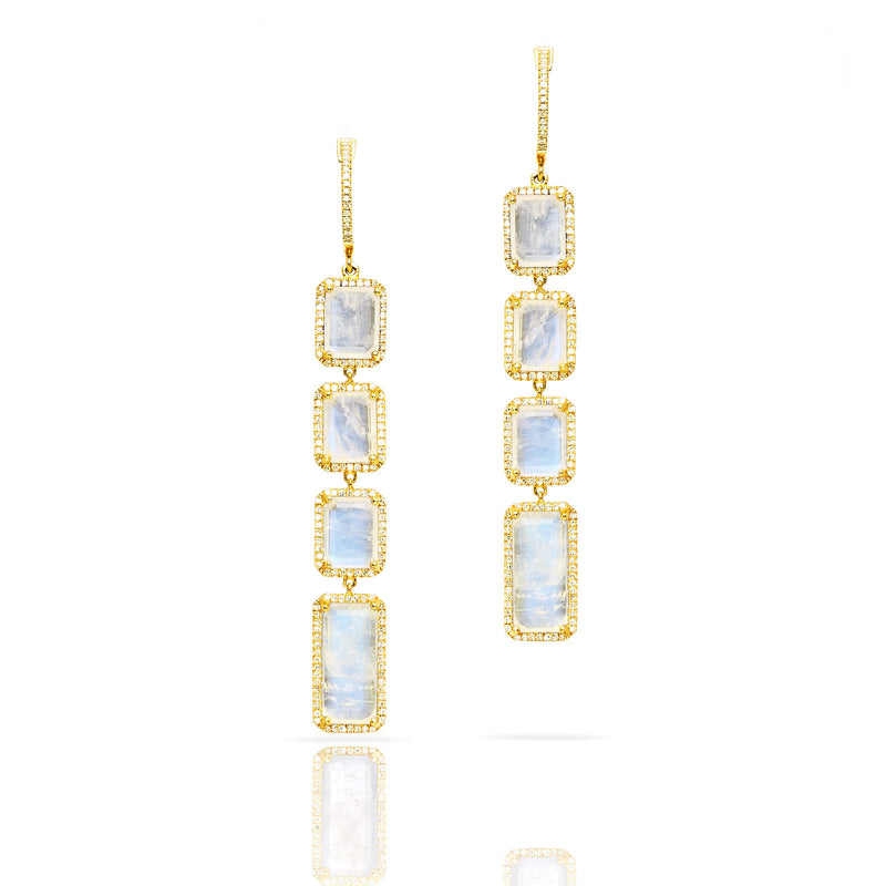 14KT Yellow Gold Moonstone Diamond Geometric Earrings