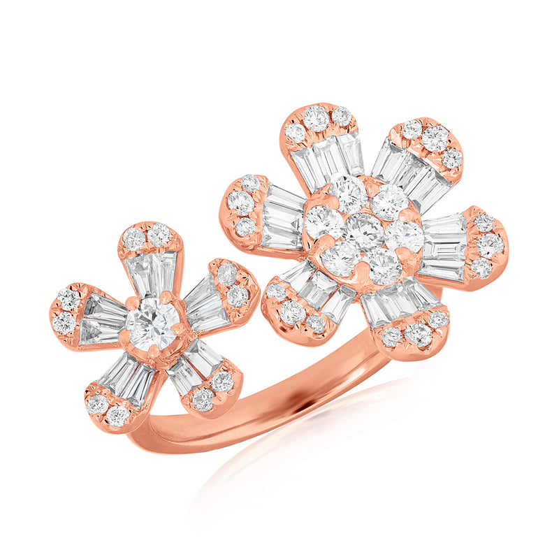 14KT Rose Gold Baguette Diamond Double Daisy Ring